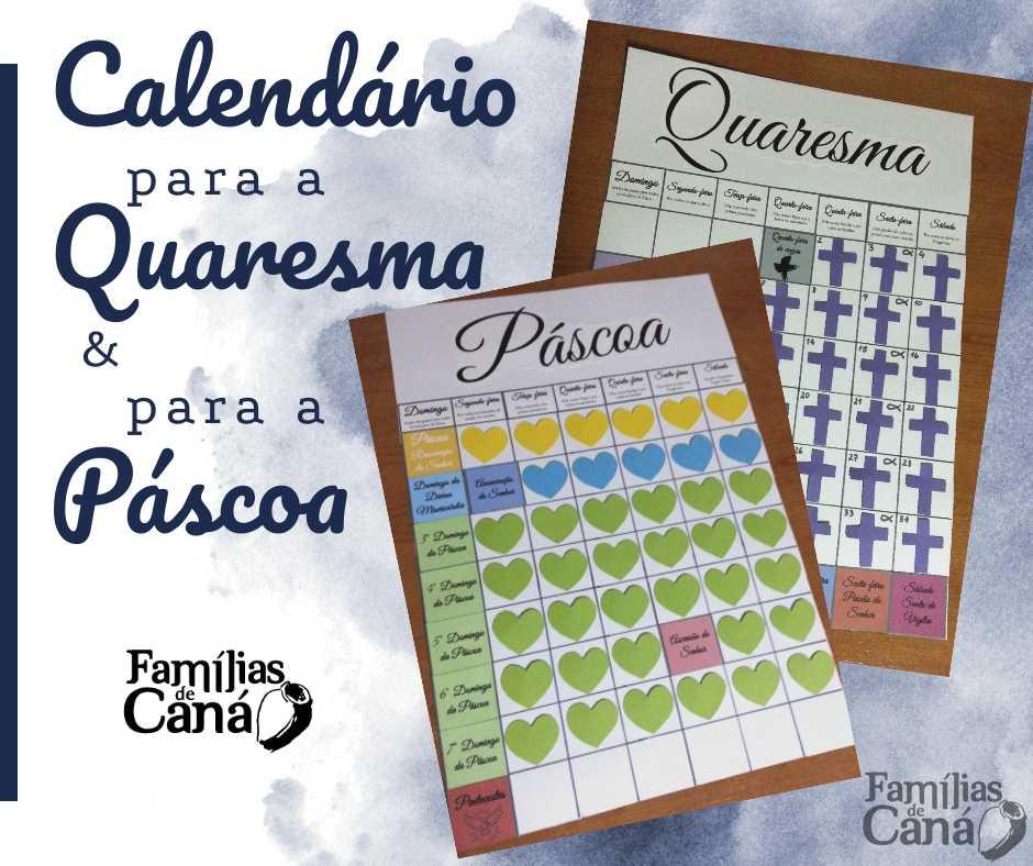Calendário para a Quaresma (e para a Páscoa!)